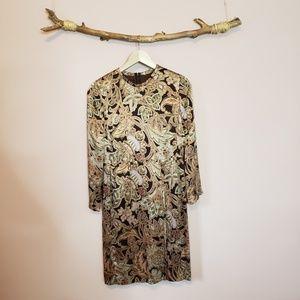 vintage louis feraud floral silk long sleeve dress